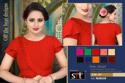 Stitched D.NO. 327 Red Cotton Stylish Blouse
