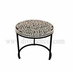 Floral Round Bone Inlay Table