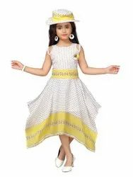Adiva  Girls Polka Dot Yellow Party Wear High Low Dress with Cap For kids
