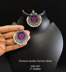 Brass German Silver Lotus Enamel Earrings