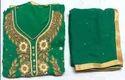 Georgette Ladies Handwork Green Suit 10