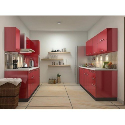 Small Modular Kitchen Designs: Red Wooden Modular Parallel Kitchen Cabinet, Rs 400