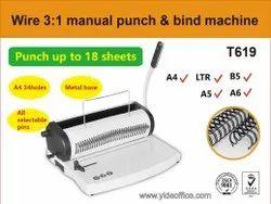 T619 Wire Binding Machine, Max Binding Sheet Width: <100 mm, Hole Size: Square