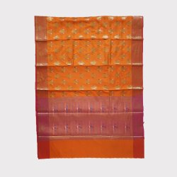 Orange Chanderi Silk Saree