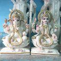 White Marble Ganesh Laxmi Statue