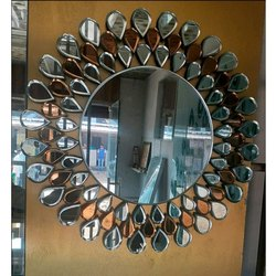 Mahendra Glass Designer Round Wall Mirror for Hotel