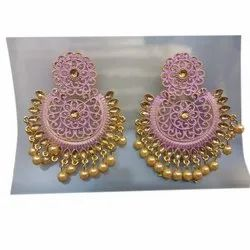 Party Wear Ladies Artificial Earring, Packaging Type: Box