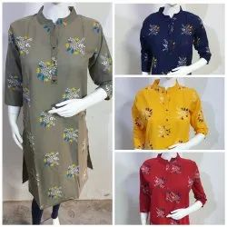 Flower Printed Cotton Kurtis