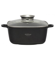 Hoffner Black Die Cast Aluminium Soup Pot, Size: 4.4 L