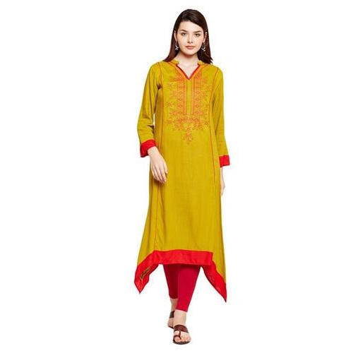 Ladies Rayon Green Embroidered Kurta
