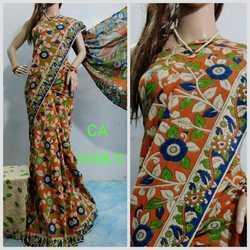 Handloom Kalamkari Hand Painted cotton Saree