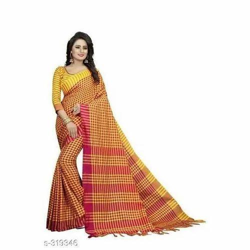 0f393d9de943d5 Party Wear Tant Handloom Cotton Silk Saree, 5.5 m (Separate Blouse Piece)