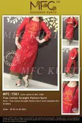 Mfc 1561 Flax Cotton Straight Kurti