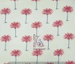 Pink Palm Tree Hand Block Print Cotton Fabric