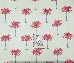 Pink Palm Tree Hand Block Print Cotton Fabric