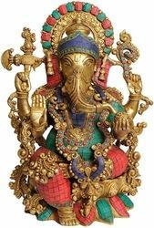 Brass Metal Made Big Size Lord Ganesha Statue With Turquoise Coral Stone Finish- wholesale Rates