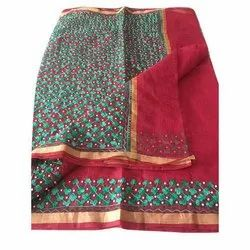 Casual Wear Embroidery Kota Cotton Pearl Sarees, 5.5 m (separate blouse piece), With Blouse