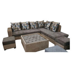 Fabric Brown 8 Seater L Shape Sofa Set Size 78 X 102 Inches