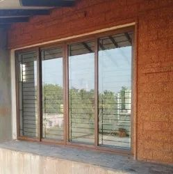 4 Track Wood Finish Aluminum Sliding Window