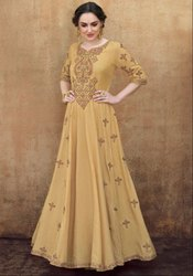 Beige Embroidered Rayon Gown