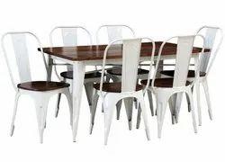 Satyam International White 6 Seater Dining Table for Restaurant