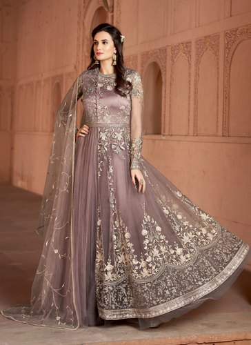 19ee1f0ad8 Rivera Designer Net Anarkali Suit With Heavy Embroidery Work | ID ...