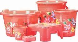 Bharat Plastic Marina Bathroom Set, Quantity Per Pack: 6 Pcs