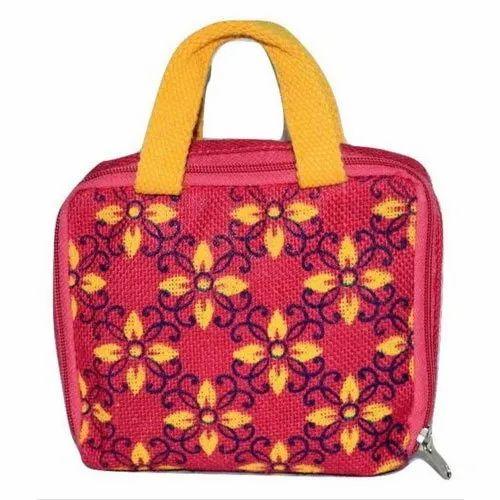 Zipped Jute Fashion Carry Bag, Capacity: 500 G