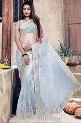 Pearl Grey Embroidered Net Saree