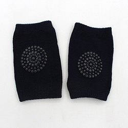 Baby Crawling Cotton Anti-Slip Knee Pads (Black)