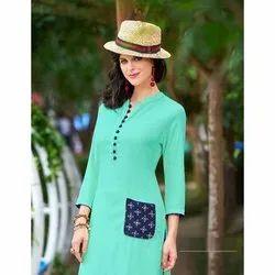 Just-In Casual Wear Ladies Trendy Rayon Kurti, Size: L,XL, Wash Care: Machine wash