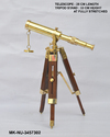 Mki Golden Brass Nautical Spy Glass Telescope With Wooden Telescopic Tripod Stand, Mk-nu-3457302