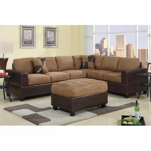 Brown 6 Seater Modern L Shape Sofa Set
