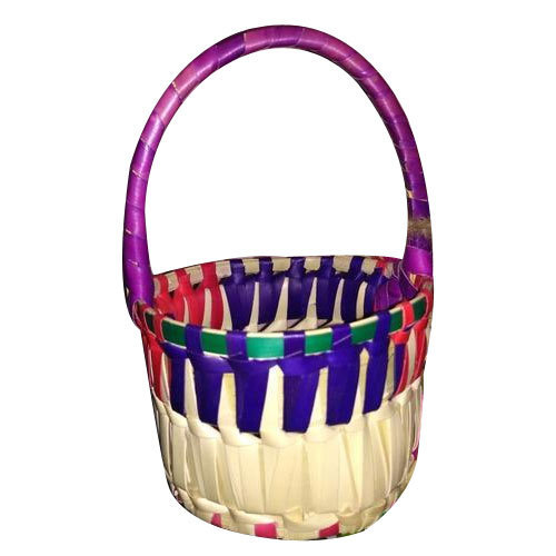 Multicolor Palm Leaf Round Basket Rs 50 Piece Hasmi Handicrafts