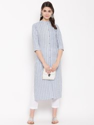 Women HC746 Grey Straight Kurta