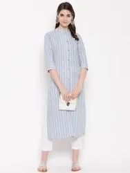 Women Grey Straight Kurta