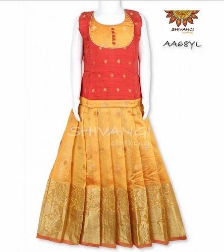 016d936197 Yellow Shivangi Chanderi Fully Stitched Pattu Pavadai - AA68YL, Rs ...
