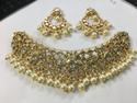 22 Carat Gold Natural Uncut Diamond Polki Stone Jadau Necklace Set
