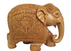 Wooden Pineapple Carving Elephant Statue
