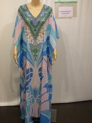 Long V Neck Digital Printed Kaftan