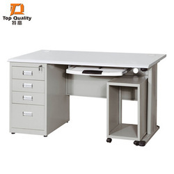 Light Grey Rectangular Steel Office Table, No. Of Drawers: 4, Size: 3.5 Feet Height