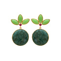 Trendy hot Amazonite With Chrysoprase Chalcedony Handmade Beautiful Silver Gold Plated Earring