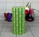 Green Bamboo Pillar Candle