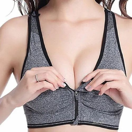 e3be132f9a5 KavJay s Front Open Zipper Soft Cups Removable Padded Sports Bra Free Size  (Removable Pad)