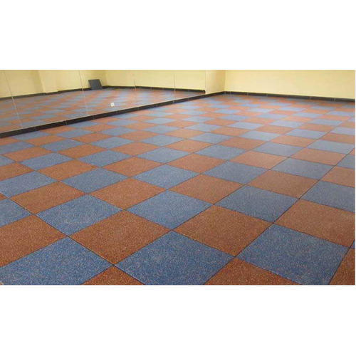 Blue And Brown Flooring Rubber Tiles, Thickness: 1-5 Mm
