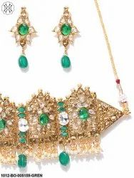 Priyaasi Gold Plated Green Kundan Embellished Jewellery Set