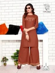 Multicolor Ladyview Present Point Stylish Party Wear Kurti With Palazzo