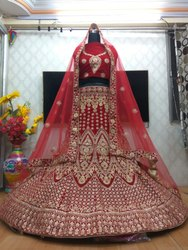 Pramukh Semi-Stitched Bridal Lehengas, Net, Packaging Type: Polly Bag