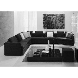 L Shape 8 Seater Fabric Sofa Set, For Home