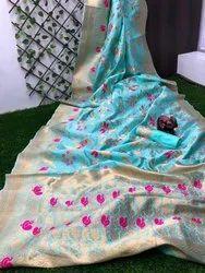 Soft nylon silk Zari work Ladies Embroidered Saree, 6.3 m (with blouse piece)